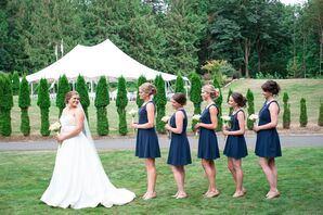 Short Navy Bridesmaid Dresses with Bouquets