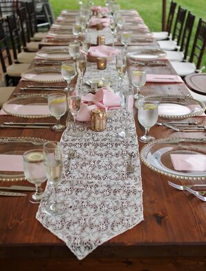 Shabby Chic Decor With Lace Runner