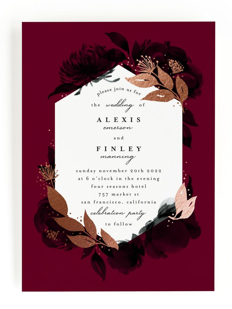 Red floral fall wedding invitation