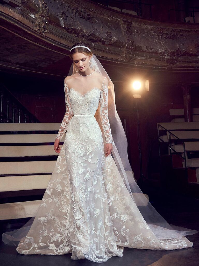 Elie Saab Fall 2018 Beaded Embroidered Illusion Long Sleeve Wedding Dress