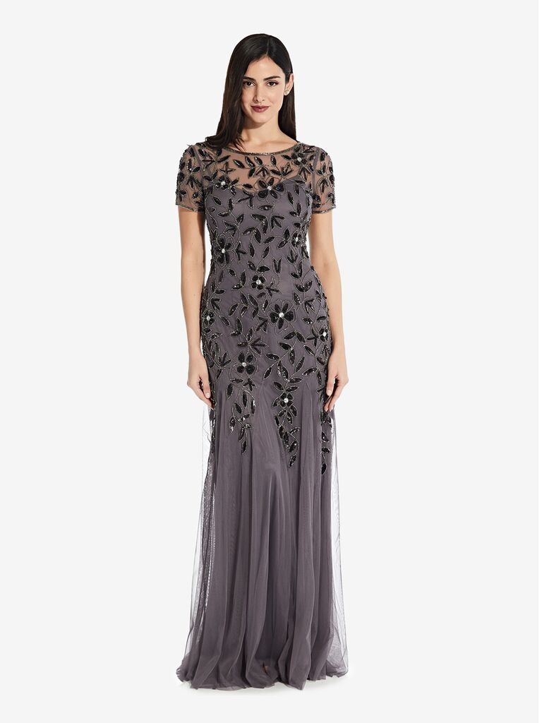 adrianna papell grey black beaded winter bridesmaid dress with short sleeves