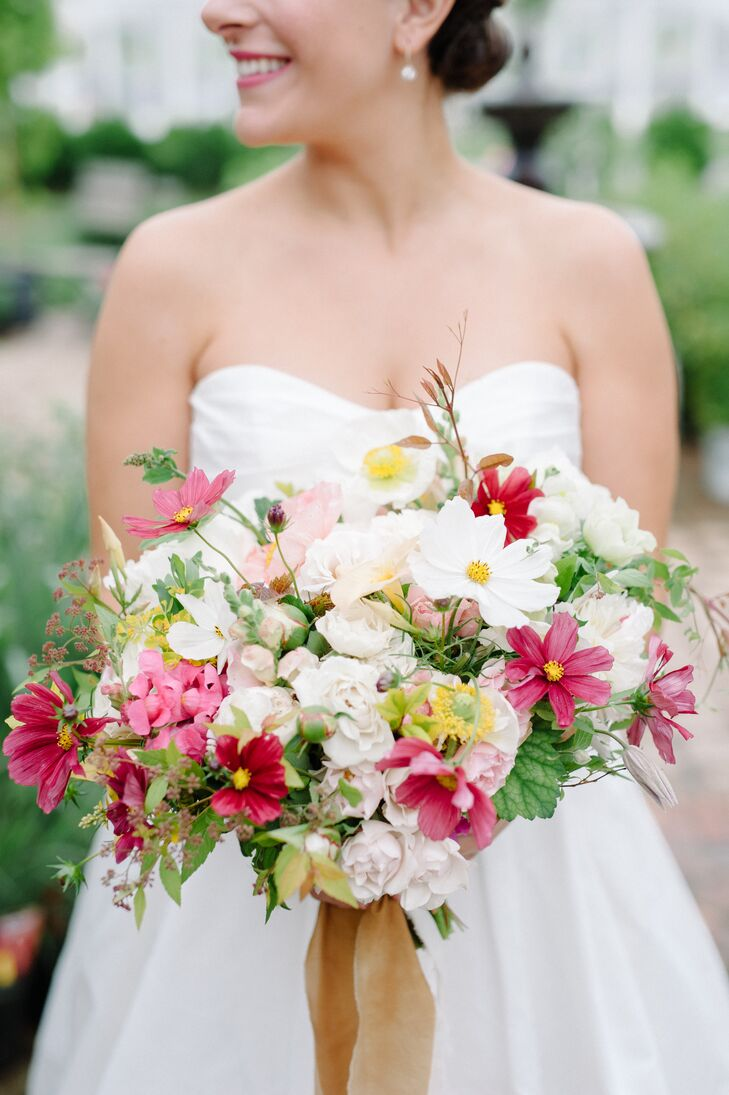 Just-Picked Bouquet of Cosmos, Snapdragons and Peonies