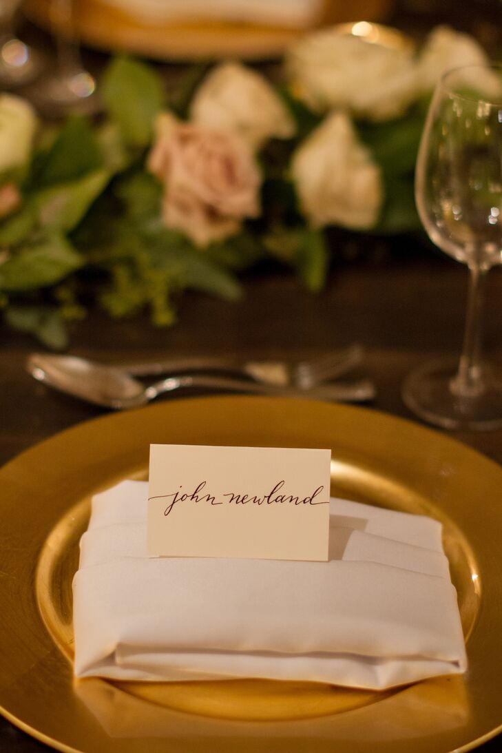 The calligraphy on the place cards matched the escort cards perfectly.