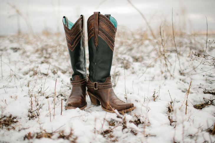 Rustic Black and Brown Cowboy Boots