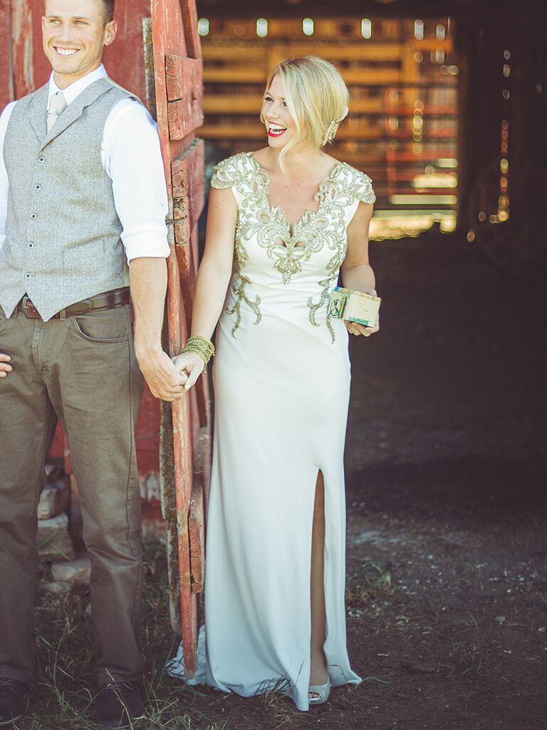 White wedding gown with bold metallic detailing