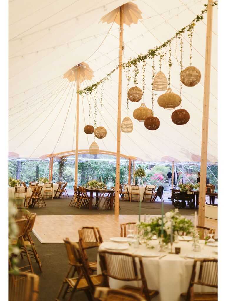 Wedding reception tent with warm neutral color accents