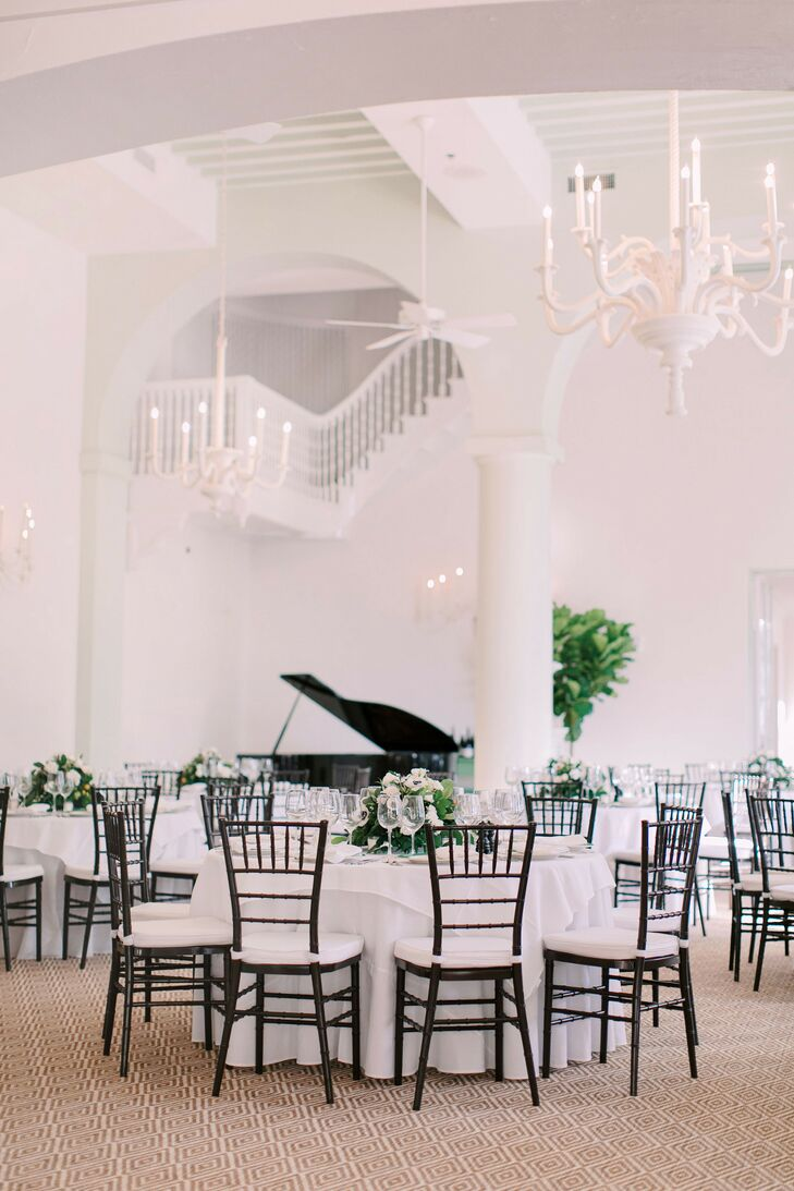 Elegant Reception with White Linens and Black Chiavari Chairs at Mountain Lake Colony Club in Lake Wales, Florida