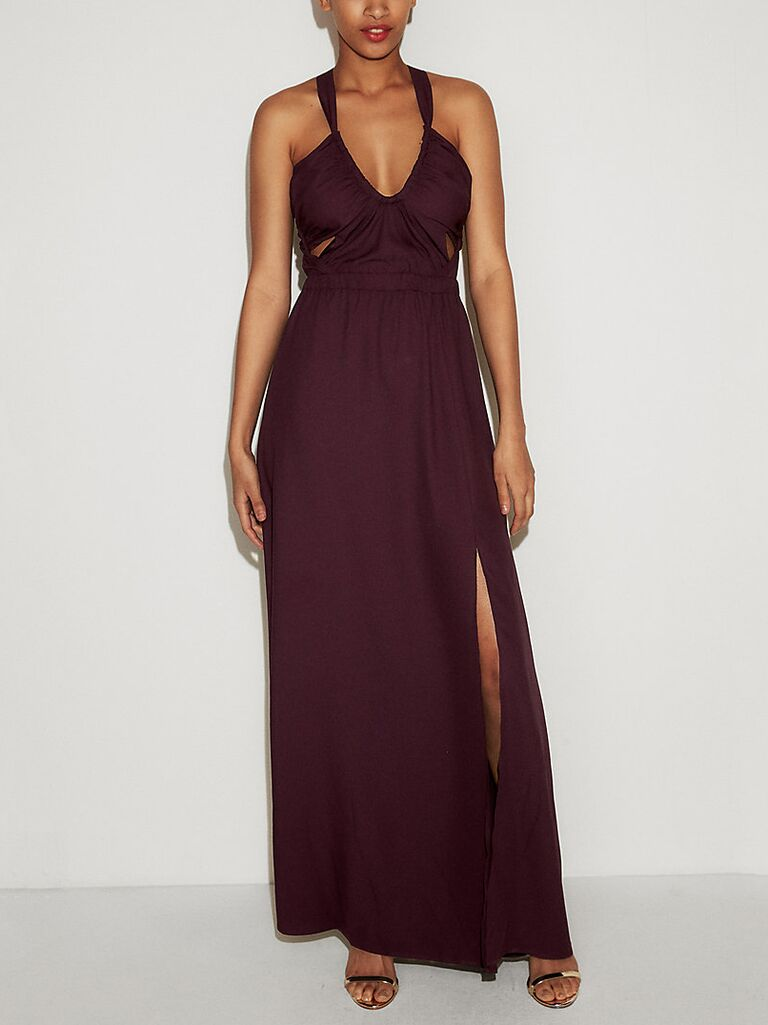 Express strappy cutout fit-and-flare maxi dress