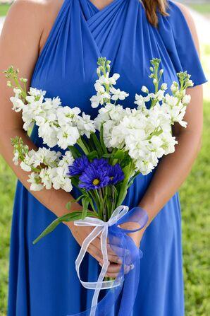 White Stock, Freesia and Blue Daisies Bouquet