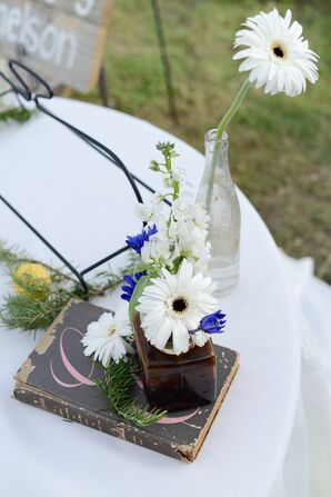 Daisy and Vintage Book Centerpieces