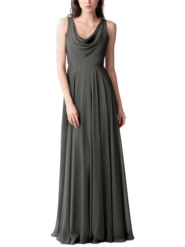 Long dark gray bridesmaid dress
