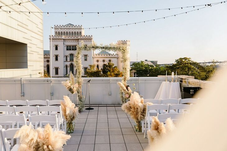 Modern Rooftop Ceremony with String Lights at Shaw Center for the Arts in Baton Rouge, Louisiana