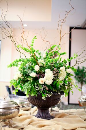 White and Green Unruly Floral Centerpiece