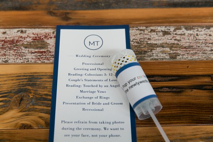 """Every guest received a confetti popper to use after the ceremony at Ovation Chicago in Chicago, Illinois. The programs also asked guests to refrain from taking photos during the ceremony, using the line, """"We want to see your face, not your phone."""""""
