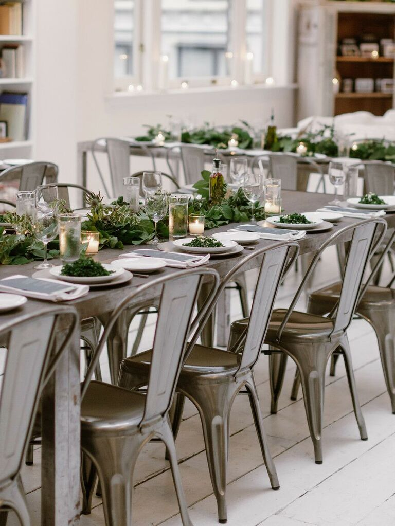spring wedding centerpieces greenery on tables
