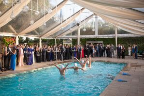 Synchronized Swimmers at Tented Wedding Reception