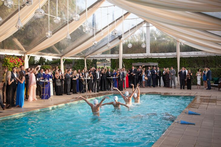 Among the many forms of entertainment were synchronized swimmers performing in the tented pool at Hummingbird Nest Ranch in Santa Susana, California.