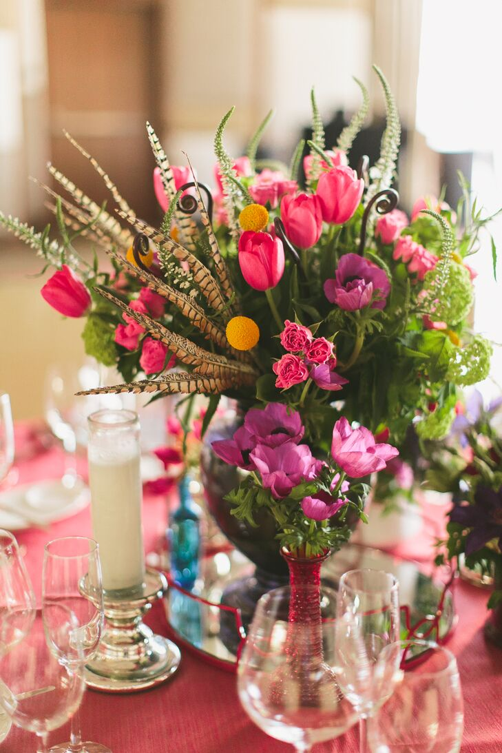 Bright Pink Flower Centerpiece With Greenery