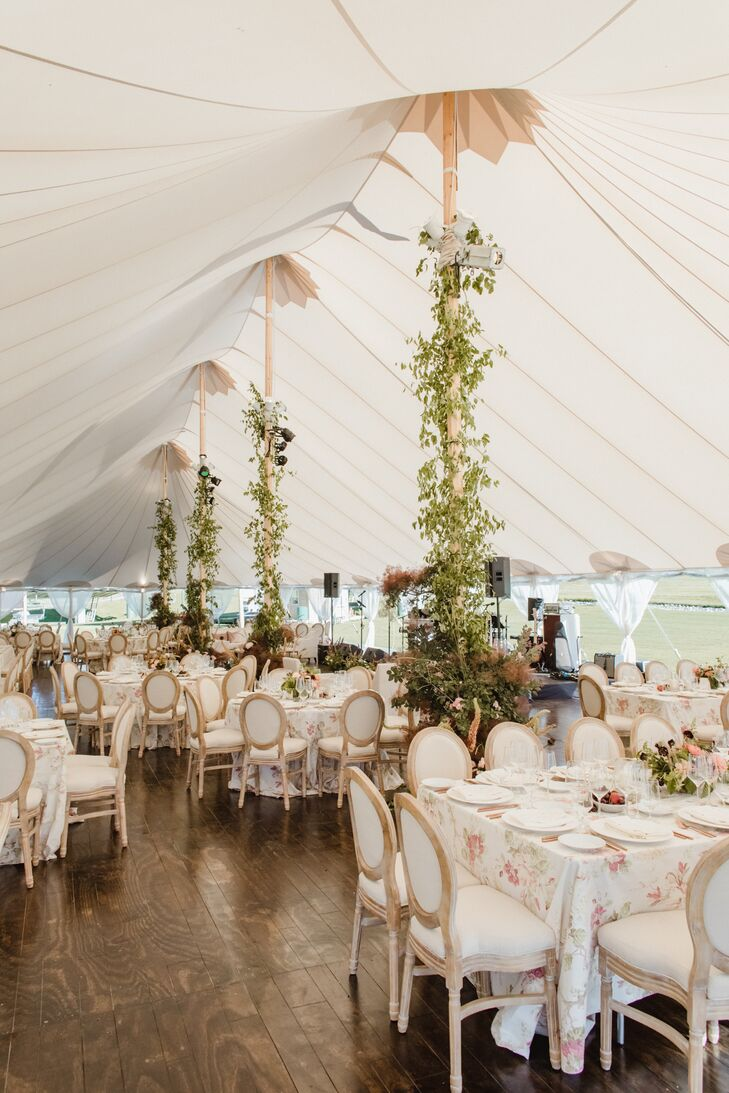 Tented Reception with Greenery and Floral Tablecloths