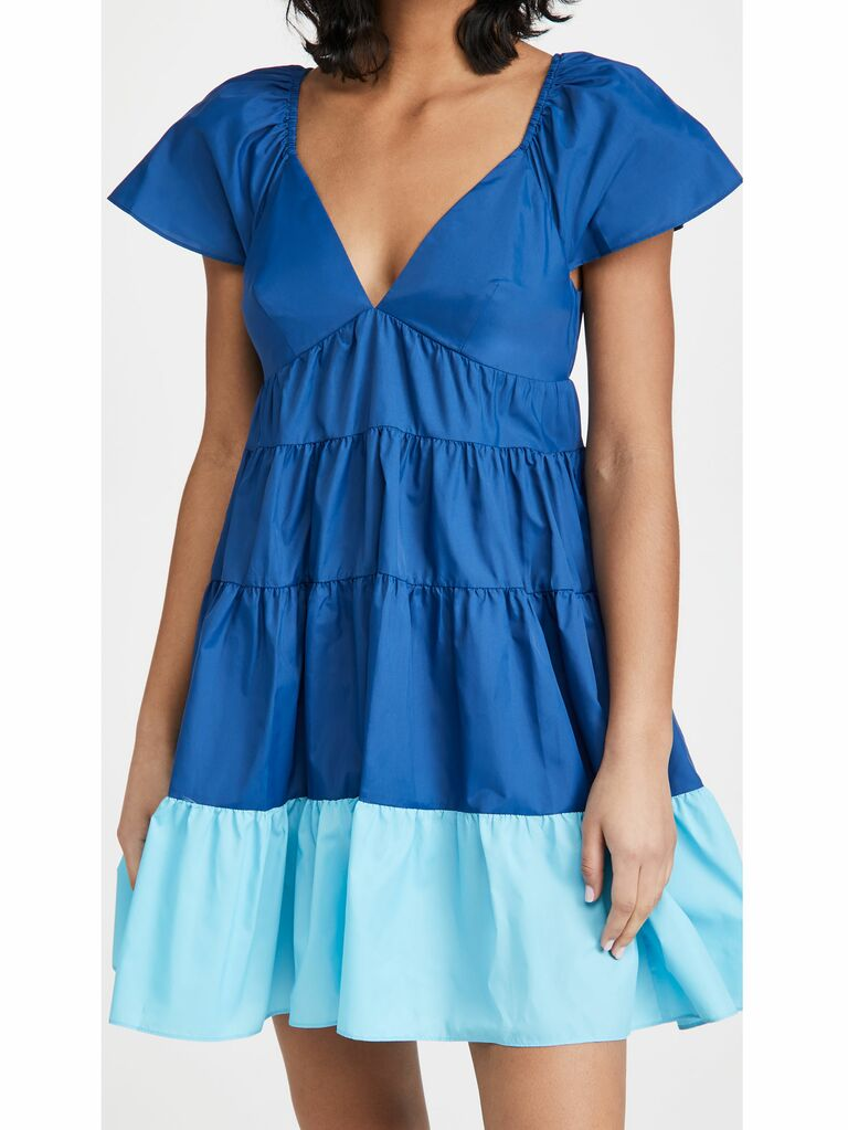 blue colorblocked mini dress with tiered skirt