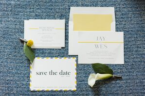Modern Yellow and White Invitation Suite