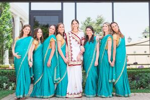 Traditional Turquoise and Gold Bridesmaid Saris