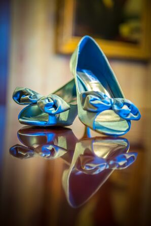 Blue Satin Peep-Toe Wedding Shoes