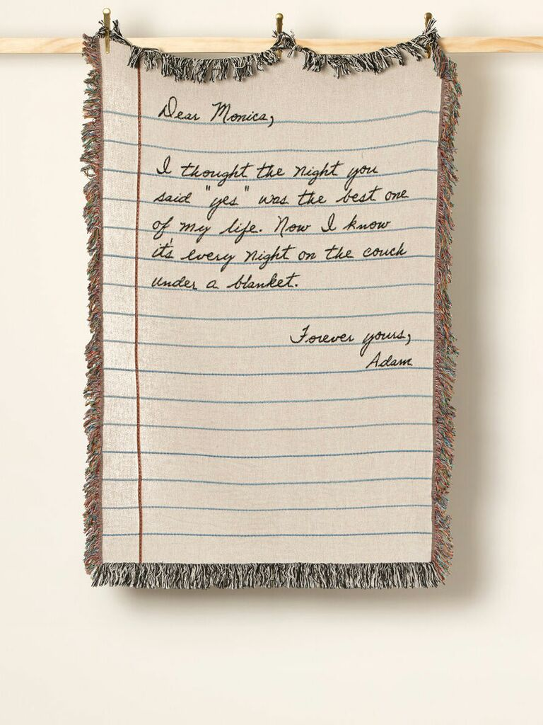 custom blanket printed with handwritten note