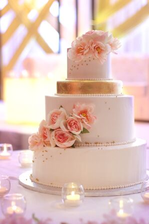 Ivory and Gold Wedding Cake with Pink Flowers