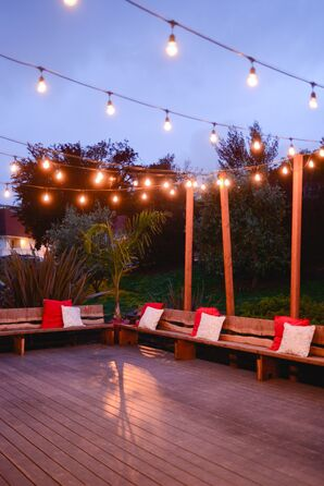 Back Deck, String Lights and Benches
