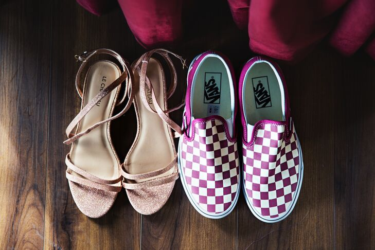Rose Gold Glitter Heels and Purple Check Vans Sneakers