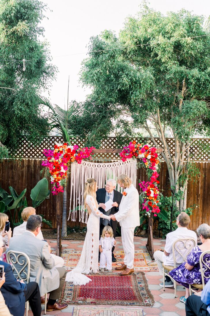 Casual Bohemian Ceremony with Colorful Flowers