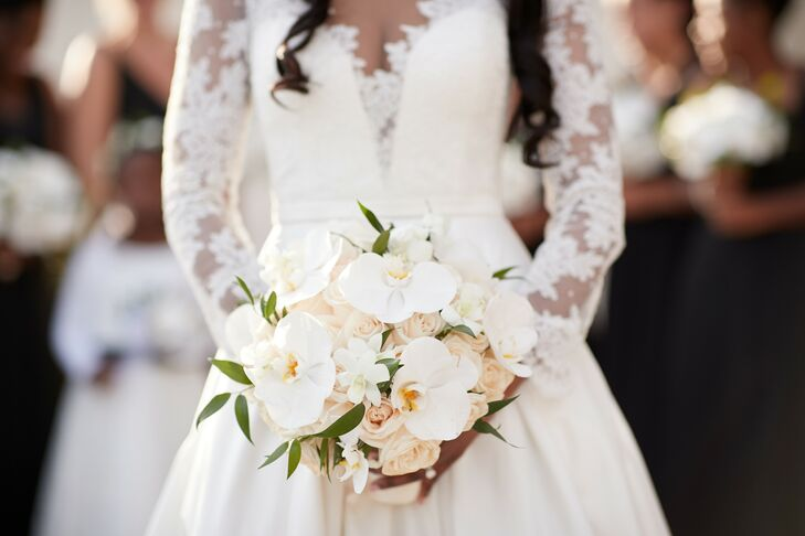White Orchid Bouquet for Wedding at Leonard's Palazzo in Great Neck, New York