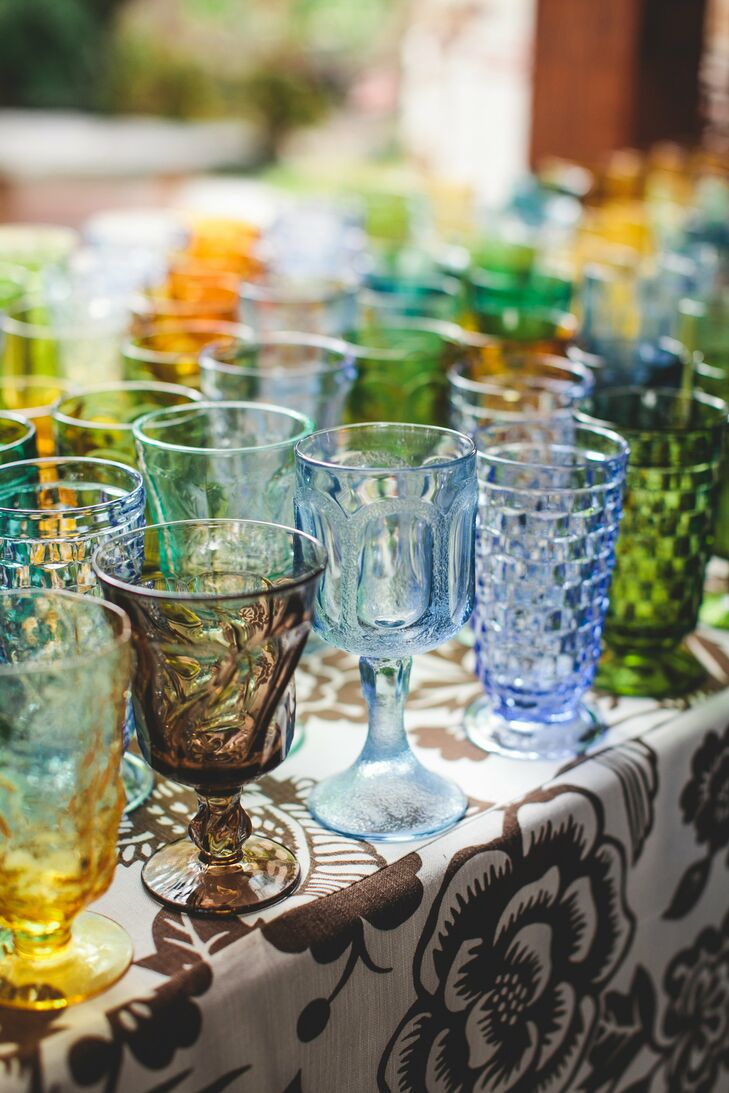 The couple had a margarita bar during cocktail hour, and guests sipped their drinks from colorful vintage glasses.