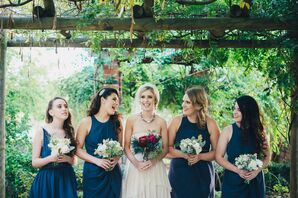 Bridesmaids in Navy Mismatched Dresses