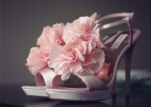 Pink Floral Badgley Mischka Wedding Shoes