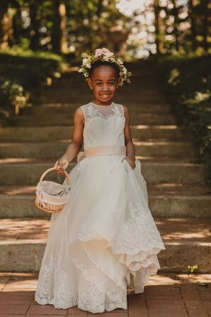 Flower Girl in Lace Dress with Flower Crown