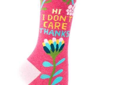 BlueQ Hi, I Don't Care Thanks socks funny bridesmaid gift