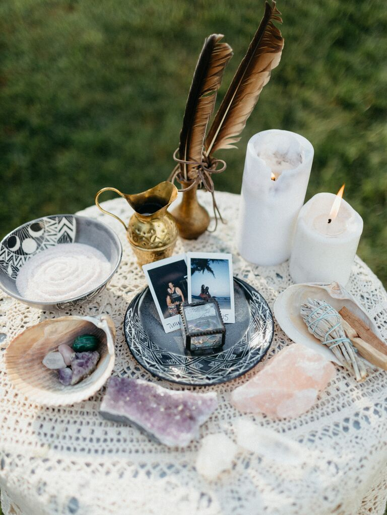 table with candles and crystals