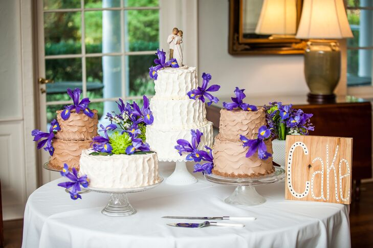 It was more important to the couple that their cake taste delicious than be extravagantly decorated, so they went with buttercream frosting decorated with fresh purple irises.