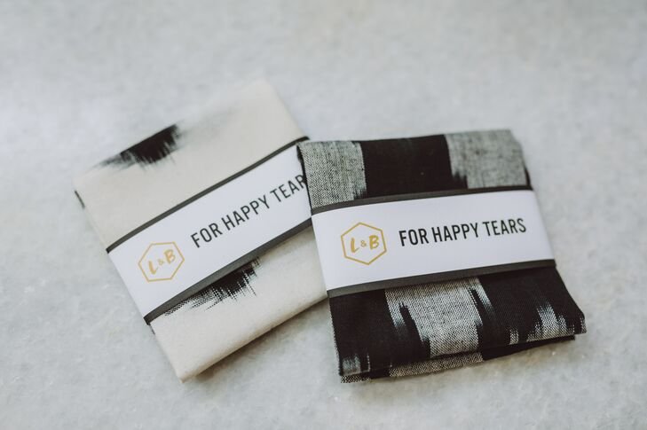 "Guests arrived to their ceremony seats to find handkerchiefs for ""happy tears"" placed on each one. Lauren actually found the global-inspired print at a fabric market in India. ""The handkerchiefs were well utilized by all the guests,"" she says of the waterworks in the crowd during the couple's vows."