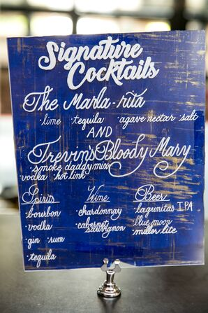 Blue and White Signature Cocktail Sign