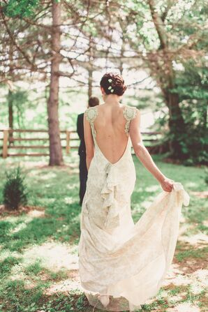 Deep V-Back Wedding Dress and Pink Leather Shoes