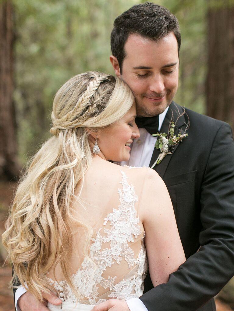 wedding braid hairstyles half up with little braids