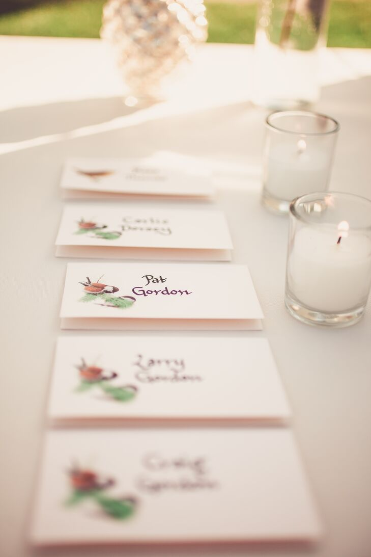 The escort cards were names of backyard birds that the guests would match their place card to. The bird species on the cards were inspired by the birds Kim and Doug see in their backyard.
