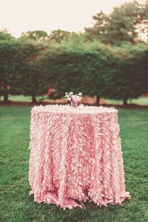Pink Feathered Cocktail Linens