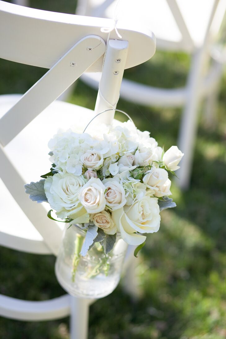 White and Blue Rose Aisle Markers