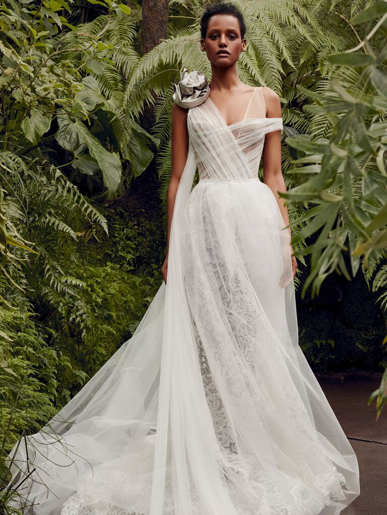 Vera Wang Spring 2020 Bridal Collection draped asymmetrical wedding dress