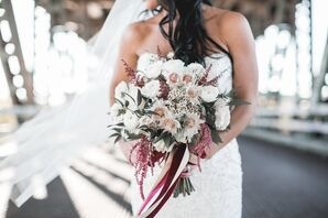 Textured White and Burgundy Bridal Bouquet