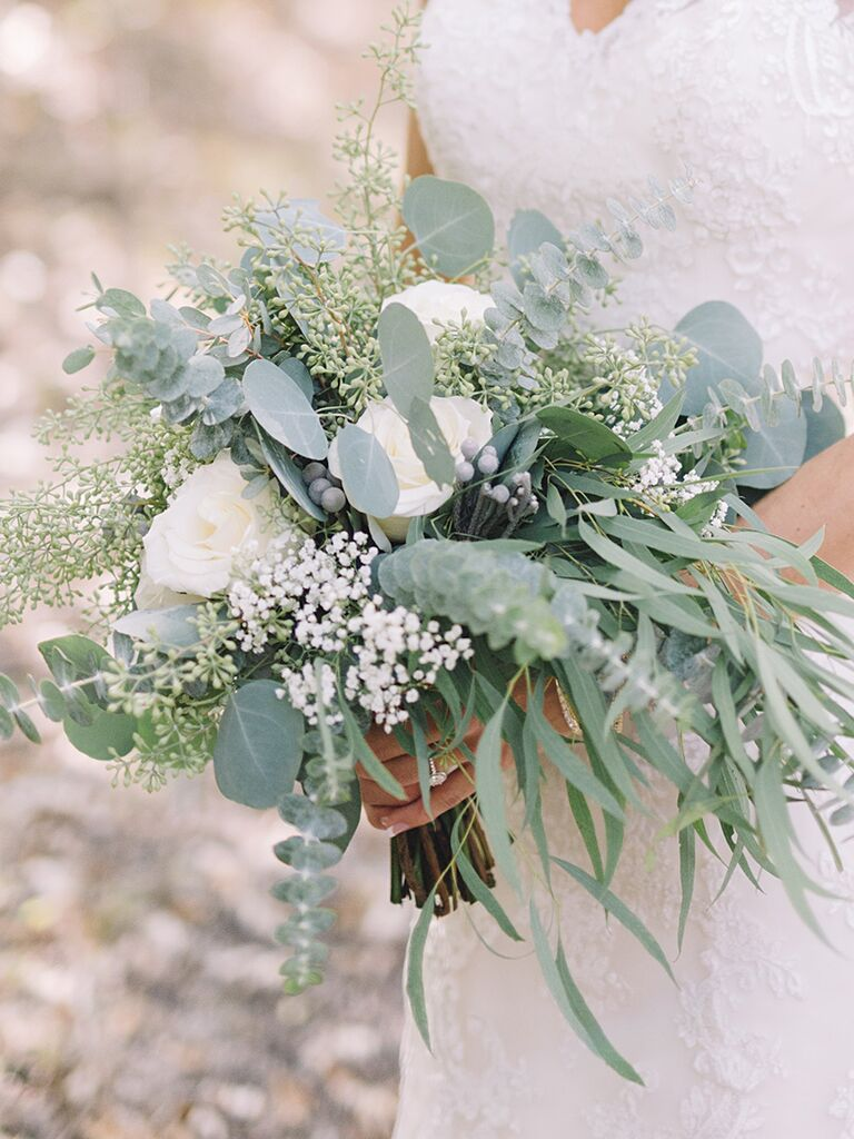 The prettiest greenery bouquets weve ever seen a bridal bouquet with roses and silver brunia izmirmasajfo